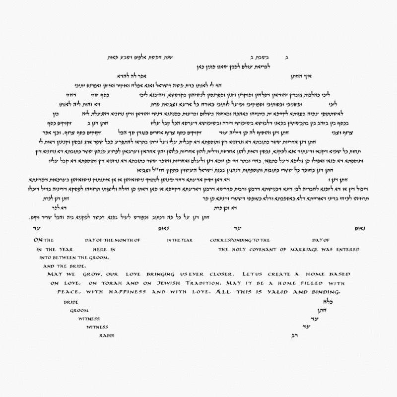 Conservative ketubah text - Aramaic with English_Circular