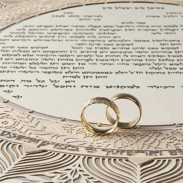 Chantilly ketubah with wedding rings