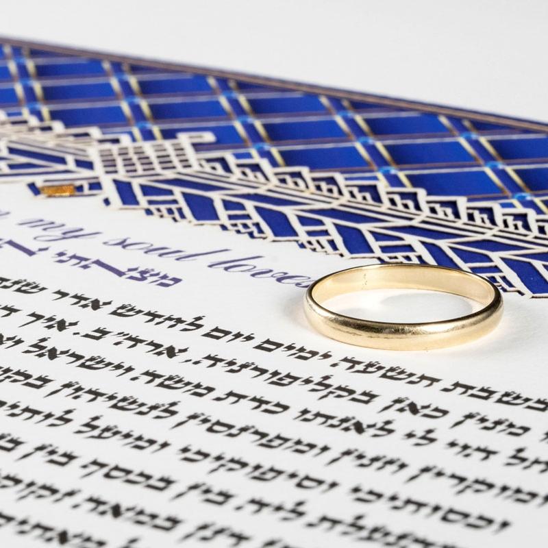Wedding ring on Lapis Lazuli Royal Ketubah
