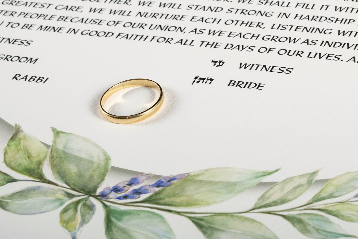 Lavender Ketubah with golden wedding ring