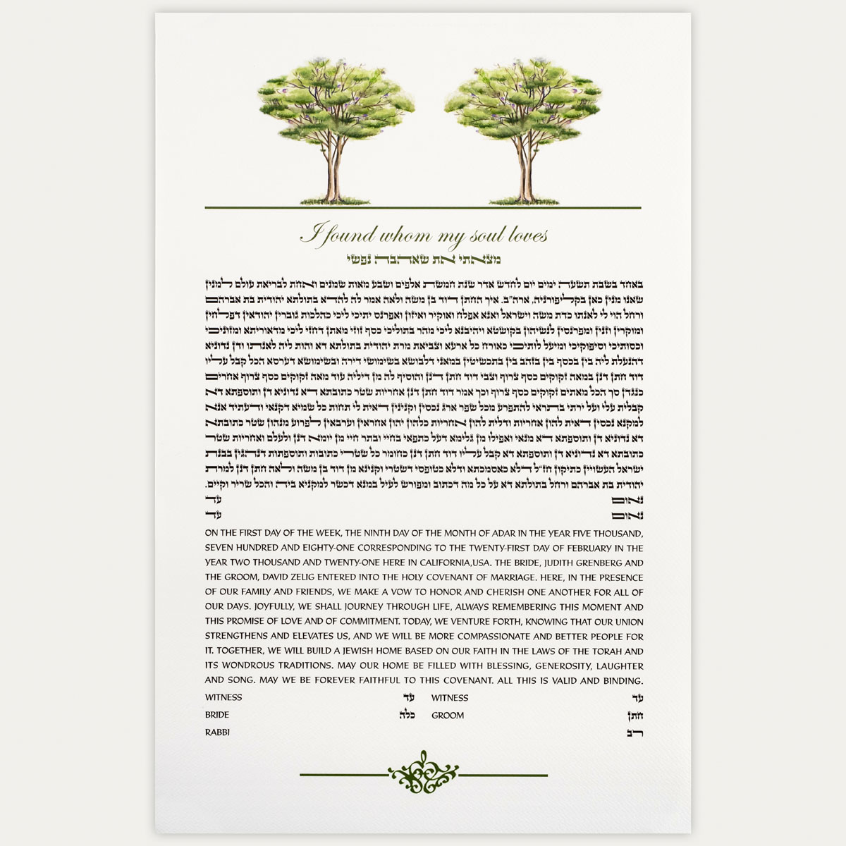 Two of a Kind Ketubah for jewish couples
