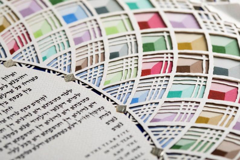 Multi-color ketubah caption (ketubah signing)